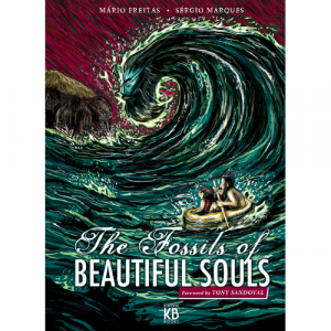 Capa do livro The Fossils of Beautiful Souls, de Mário Freitas e Sérgio Marques. Prefácio de Tony Sandoval. Kingpin Books