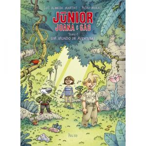 Capa do livro Júnior, Joana e Gçao, Tomo 1, Um Mundo de Aventuras, de Luís Almeida Martins e Pedro Morais. Polvo Editora