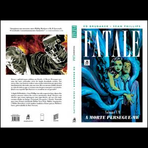 Capa e contracapa Fatale Volume Um - A Morte Persegue-me, de Ed Brubaker e Sean Phillips. G. Floy Editora