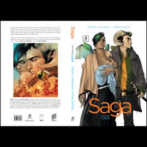Capa e contracapa do livro Saga Volume Um, de Brian K. Vaughan e Fiona Staples. G. Floy Editora