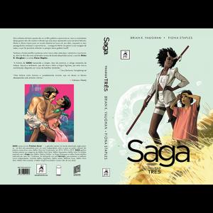 Capa e contracapa do livro Saga Volume Três, de Brian K. Vaughan e Fiona Staples. G. Floy Editora