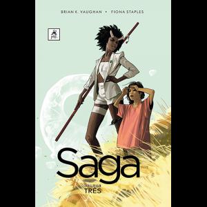 Capa do livro Saga Volume Três, de Brian K. Vaughan e Fiona Staples. G. Floy Editora