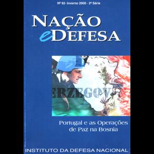 capa da revista Nação & Defesa nº92 - Portugal e as Operações de Paz na Bosnia. Instituto da Defesa Nacional