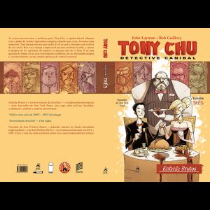 Capa e contracapa do livro Tony Chu: Detective Canibal. Volume Três, Enfarda Brutos, de John Layman e Rob Guillory. G. Floy Editora