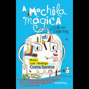 Capa do livro A Mochila Mágica & Outras Estórias, de Nuno, Luís & Rodrigo Costa Santos. Escritório Editora