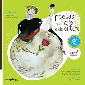 Capa do livro Poetas de Hoje e de Ontem, de Maria de Lourdes Varanda, Maria Manuela Santos e Filipa Canhestro. Escritório Editora