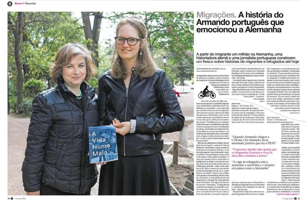 A Vida Numa Mala, livro distribuído pela Europress Editora, no jornal i. Terceira página.