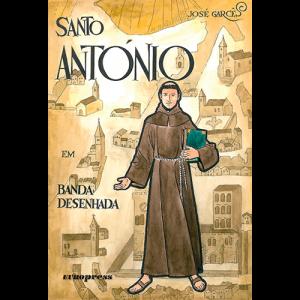 Capa do livro Santo António em Banda Desenhada, de José Garcês. Europress Editora